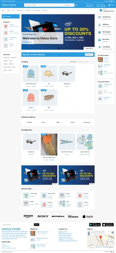 Oshus Store website screenshot for a portfolio of Business category
