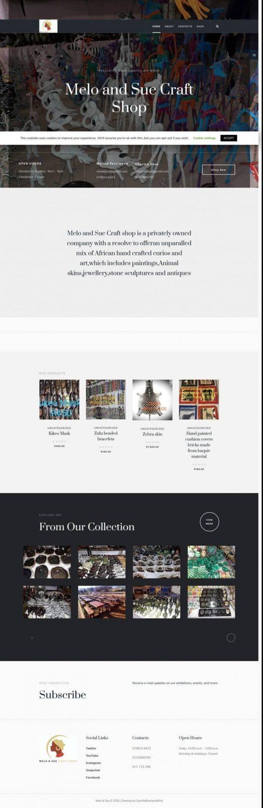 Meloand Suescraft website screenshot for a portfolio of Business category