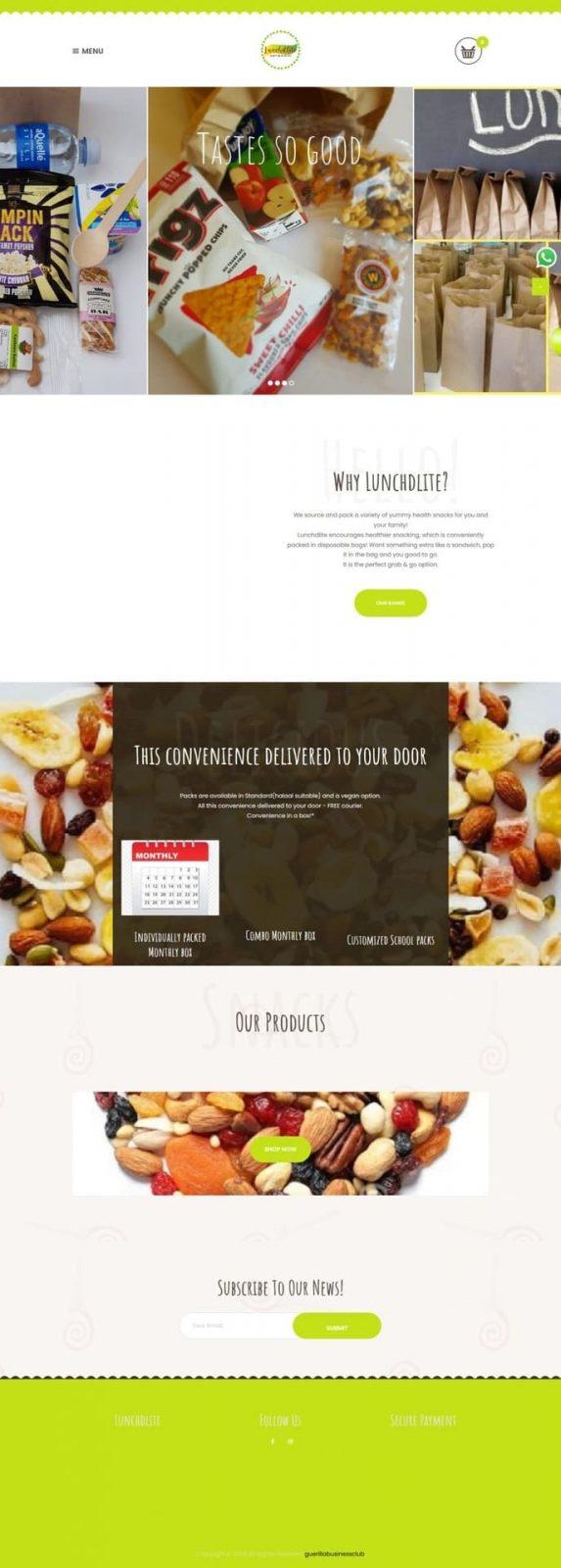 Lunchdlite website screenshot for a portfolio of Business category