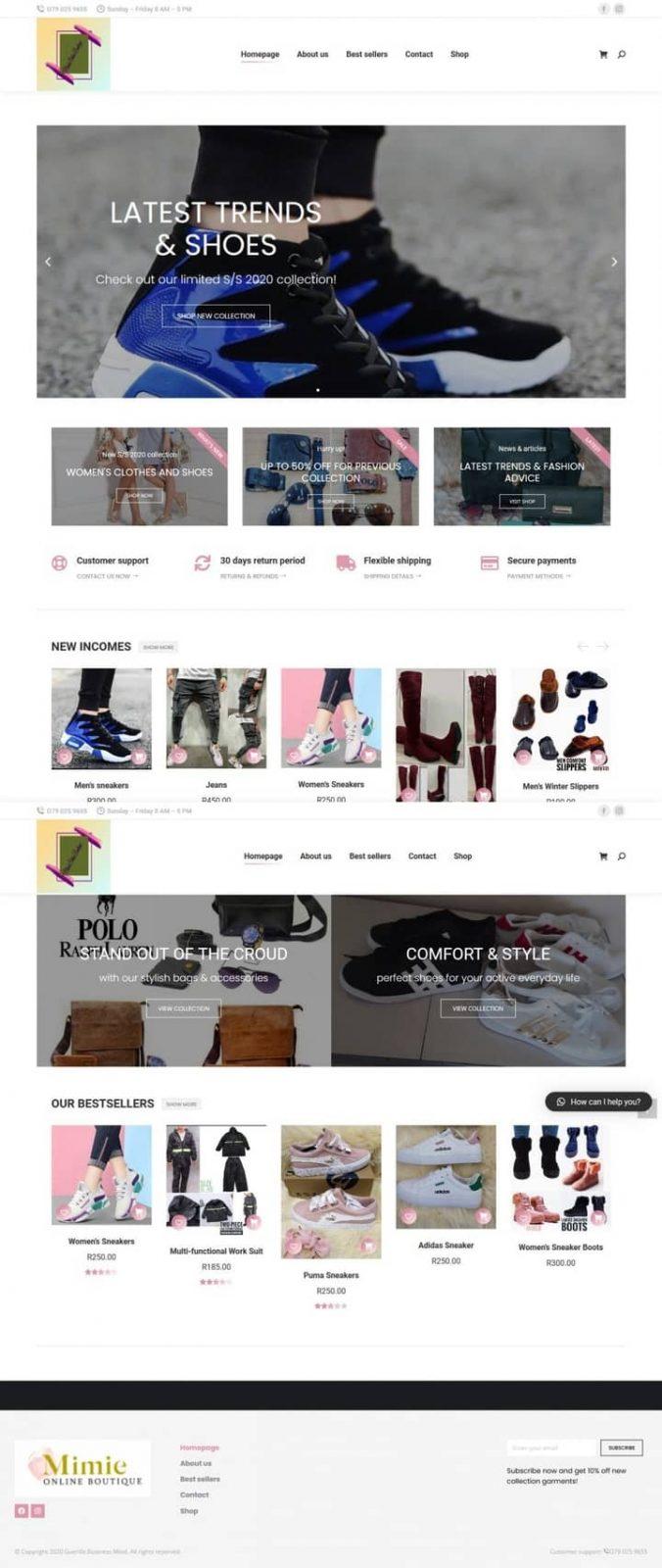 Mimiesonline Boutique website screenshot for a portfolio of Business category