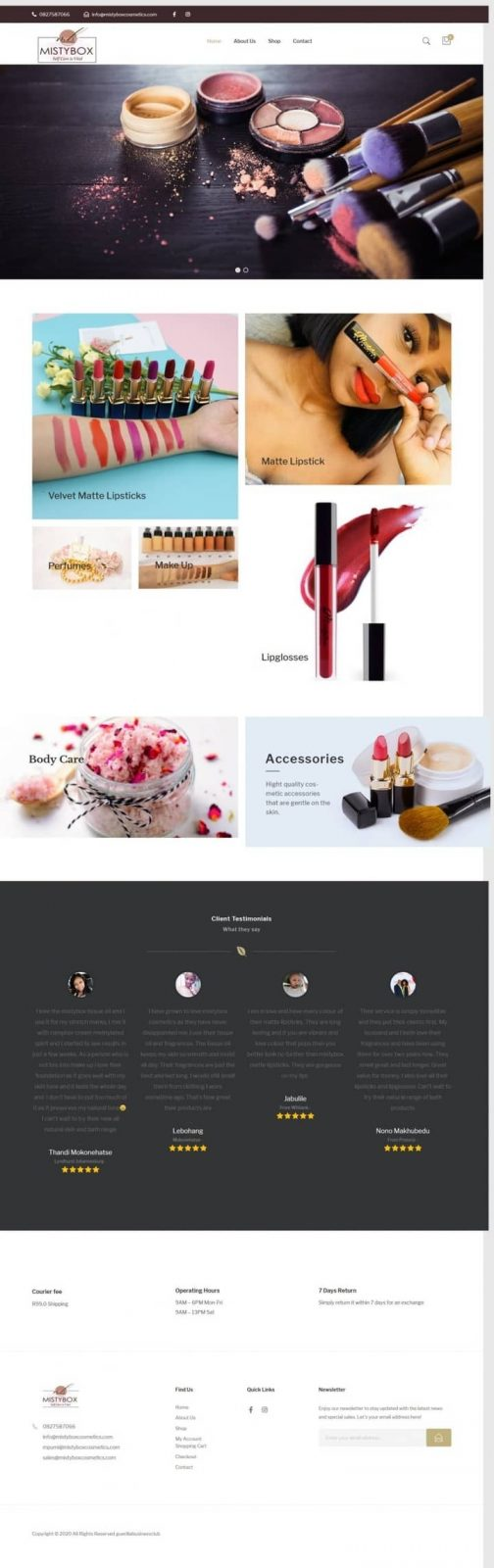 Mistybox Cosmetics website screenshot for a portfolio of Ecommerce/psd to html category