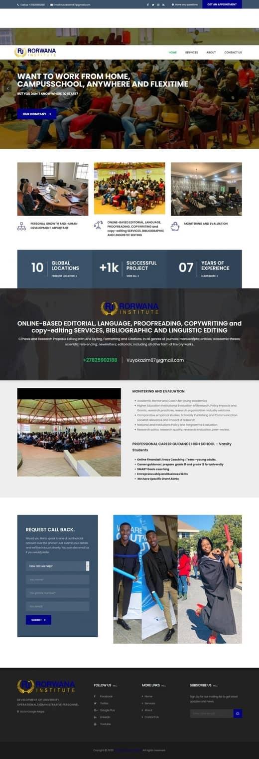 Rorwana Institute website screenshot for a portfolio of Business category