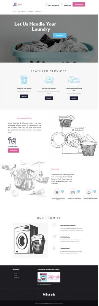 Mittah Laundry website screenshot for a portfolio of Business category